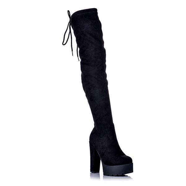 Μπότες Suede Μαύρες Over The Knee Με Κορδόνι  9e5b762bc11