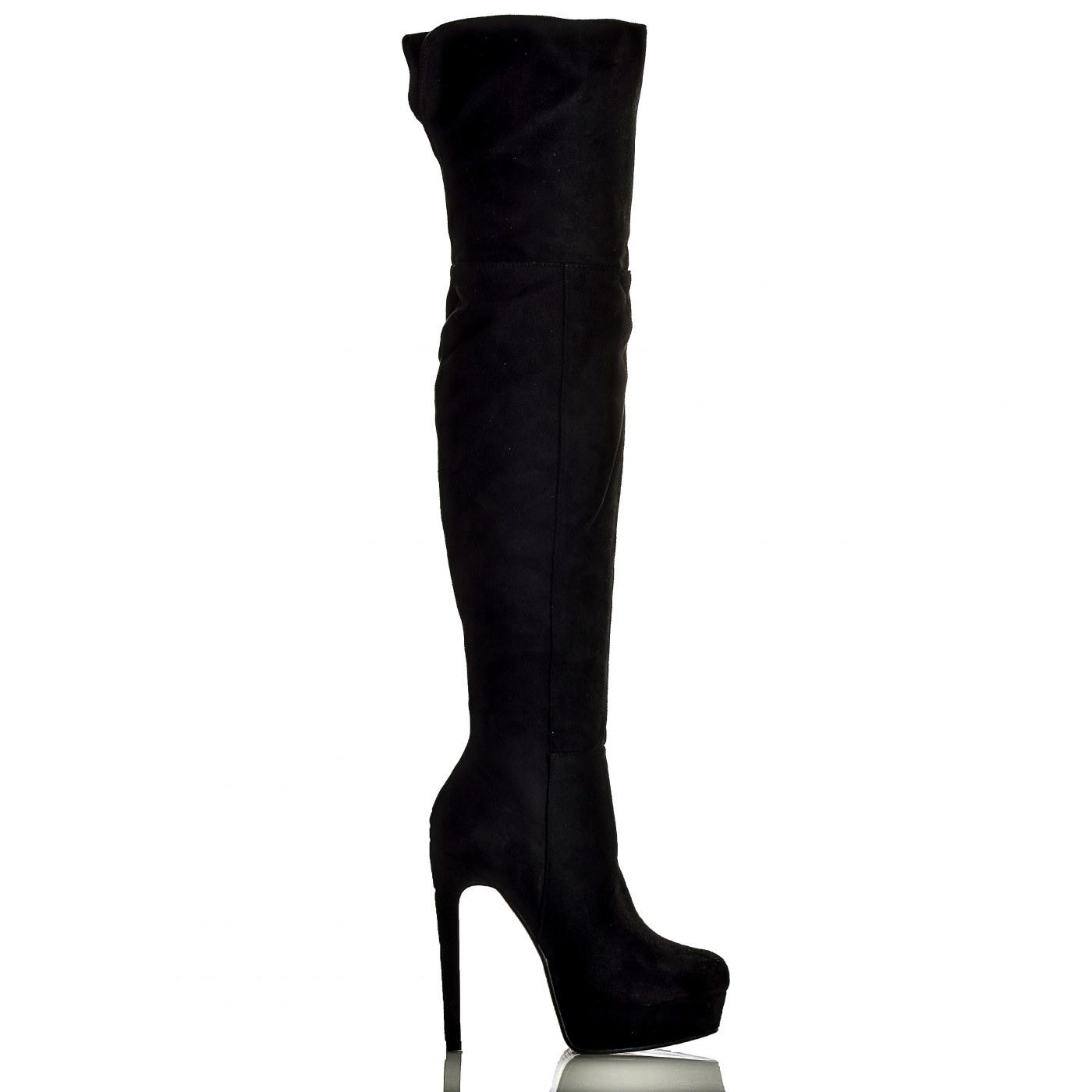 ee922eeb836 Γυναικείες Μαύρες Μπότες Με Στιλέτο Τακούνι Οver the knee | BlackOut ...