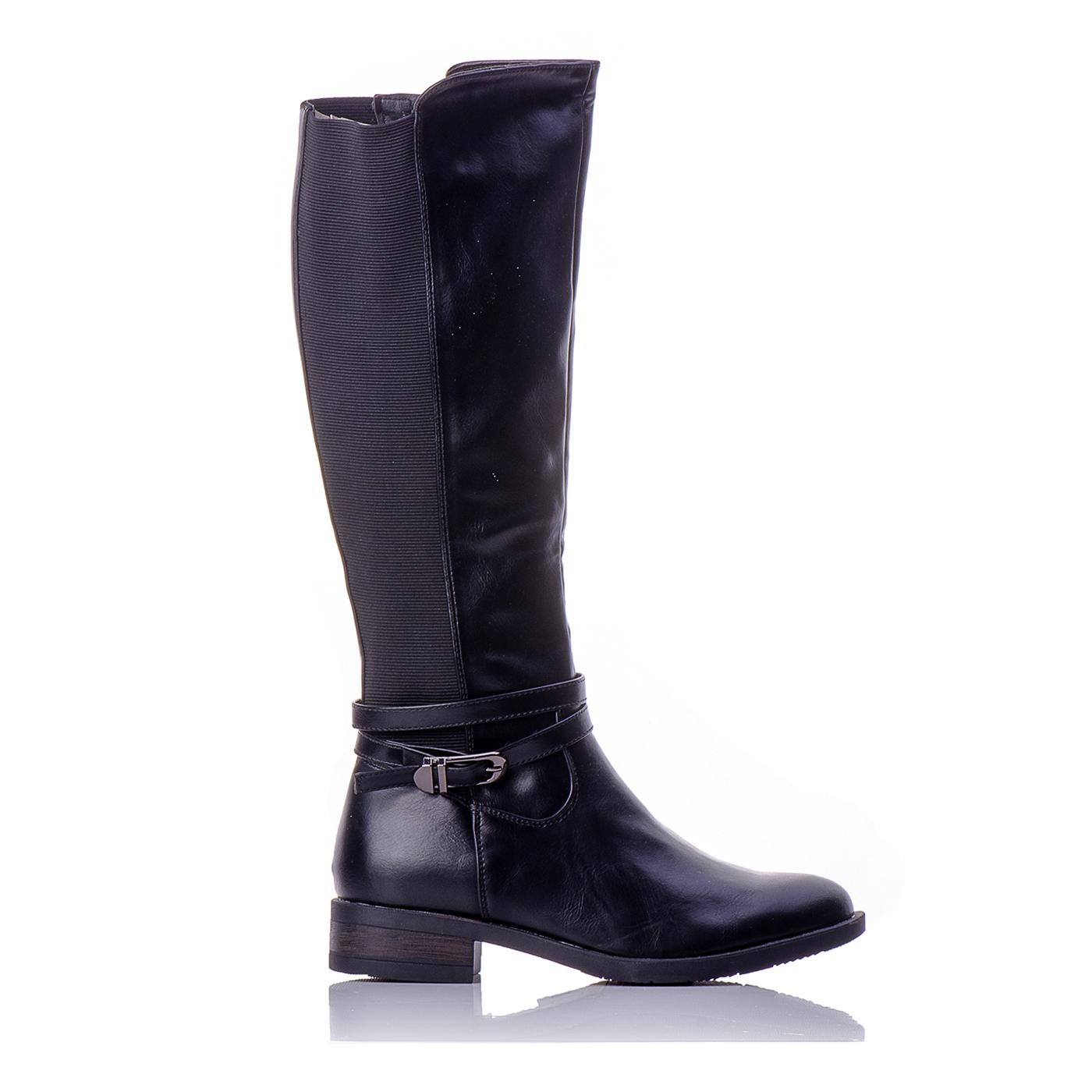 05040ff584e Μπότες Μαύρες Με Λάστιχο Στην Γάμπα Και Πλαϊνή Αγκράφα | BlackOut Shoes