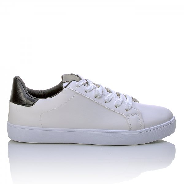 2f61005349c Λευκά Sneakers Με Μαλακή Σόλα Και Μαύρη Φτέρνα ...