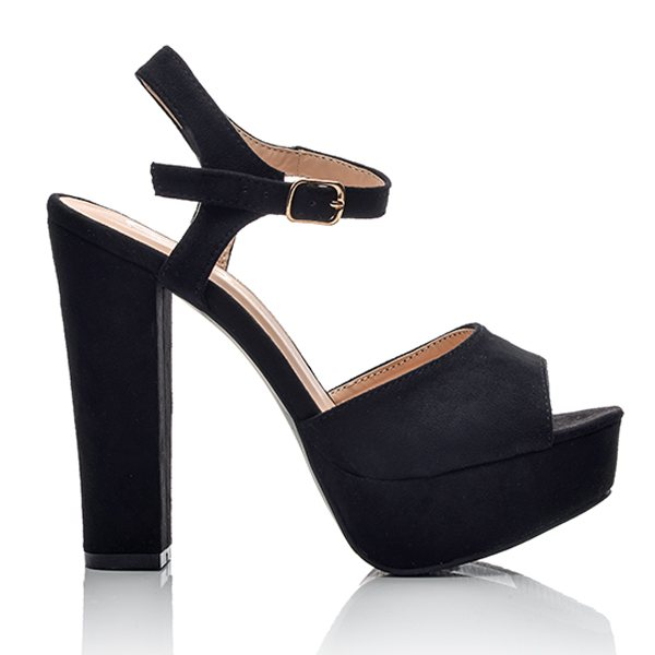 0edc27fa265 Πέδιλα Μαύρα Suede Με Ψηλό Τακούνι   BlackOut Shoes