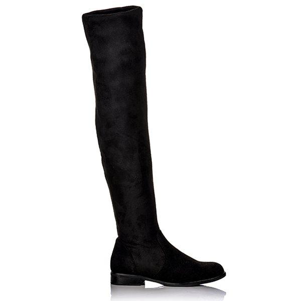 77a1cf7392c Μπότες Φλατ Μαύρες Over The Knee Καστόρ | BlackOut Shoes