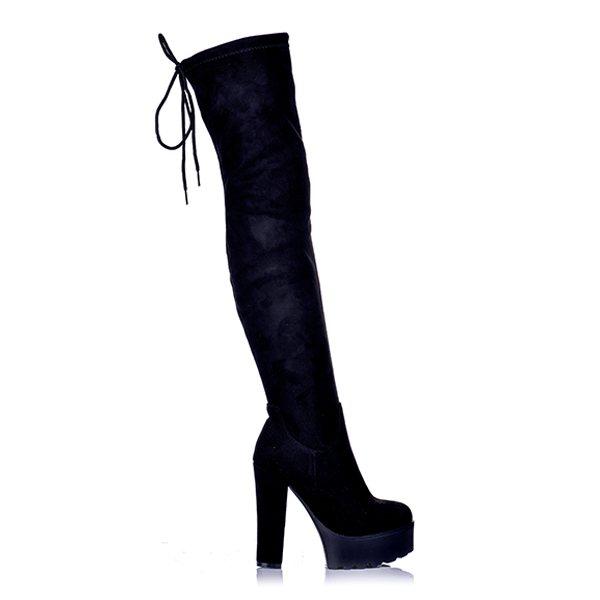 64d4054d9ba Μπότες Suede Μαύρες Over The Knee Με Κορδόνι ...