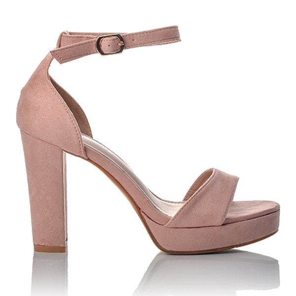 f955a4ee8f8 Γυναικεία Ψηλά Ροζ Πέδιλα Suede   BlackOut Shoes