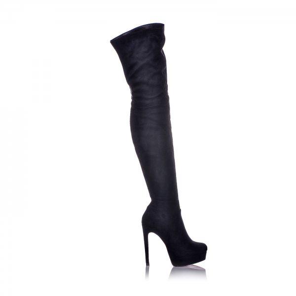 Μπότες Μαύρες Suede Πάνω Από Το Γόνατο ... b8a99d4c55f