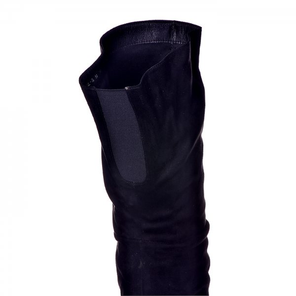 31171a3bfcf ... Μπότες Μαύρες Suede Πάνω Από Το Γόνατο ...