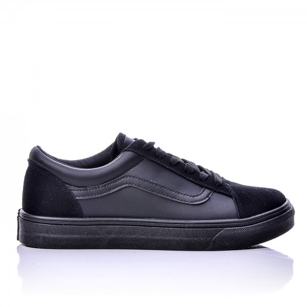 Sneakers Μαύρα Με Μαύρη Ρίγα Και Μαύρα Κορδόνια ... 68297eebce0