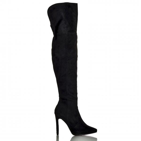 ec3e8ac84ae Γυναικείες Μπότες Μαύρες Στιλέτο Over The Knee Suede ...